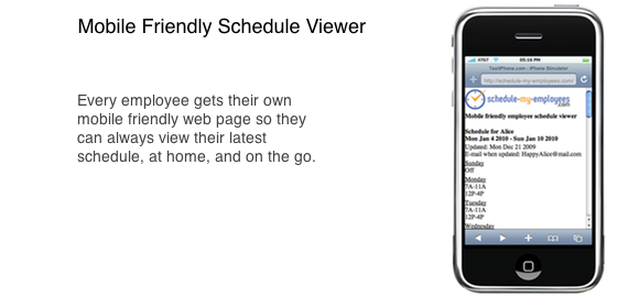 Mobile friendly employee schedule viewer - 2