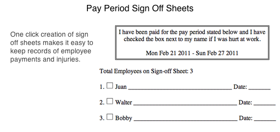 Pay period sign off sheets - 5